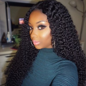 WowEbony Kinky Curly Glueless Lace Front Wigs Brazilian Virgin Human Hair [LFW086]