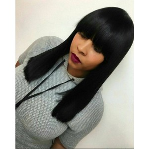 {7working days processing time}Indian Remy Hair Full Bangs Regular Yaki Glueless Silk Top Non-Lace Wig [STNLW02]