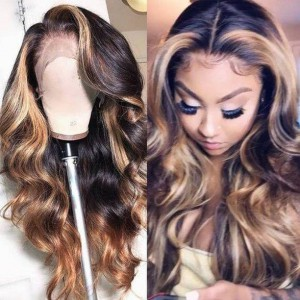 WoWEbony Invisible HD Transparent Single Knots Indian Remy  or Virgin Hair Highlight Color Wave Lace Front Wigs [Britnnay]
