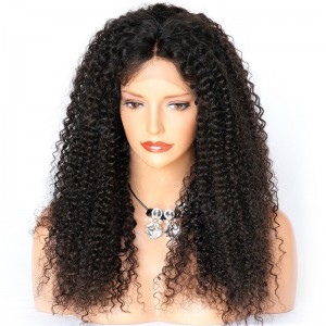 WowEbony Lace Front Wigs Indian Remy Hair Afro Curl  [LFW08]