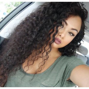 WowEbony Loose Curly Silk Base 4*4 Lace Front Wigs Indian Human Hair [SBLFW7]