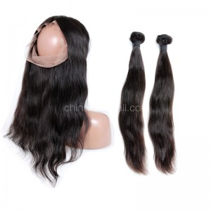 Brazilian Virgin Human Hair  4.5inches Deep part Pre-plucked 360 Lace Frontal + 2 Bundles Natural Straight Bundle Weight 100g/PC[BVNS360LF2+1]