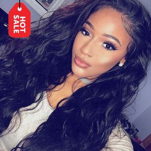 WowEbony Pre-plucked Hairline Natural Wave 360 Lace Wigs Indian Remy Hair 150% density [NW360]