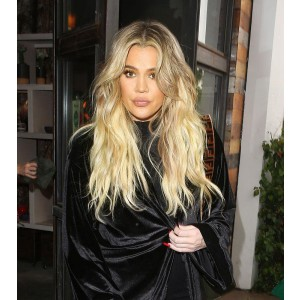 Khloe Kardashian Ombre Blonde Color Deep Part Chinese Virgin Hair Lace Front Wigs [IR4.5DPOM1]