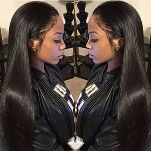 WowEbony Pre-Plucked Hairline Glueless Full Lace Wigs Indian Remy Hair Light Yaki Straight [FLW12]