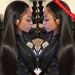 WoWEbony top selling 20 inch 150 density soft yaki straight Indian Remy human hair 360 lace wig[S360YS04]