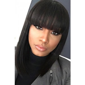 WowEbony Indian Remy HairFull Bangs Yaki Straight Glueless Silk Top Non-Lace Wig [STNLW01]