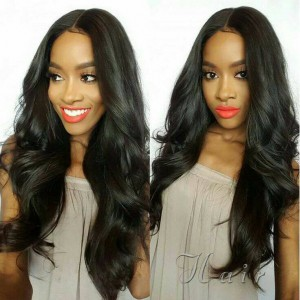 WowEbony Silk Base 4*4 Lace Front Wigs Indian Remy Hair Body Wave [SBLFW10]
