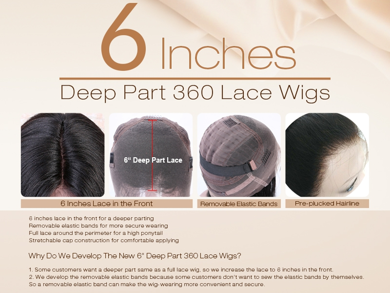 6 inches 360 lace wigs description