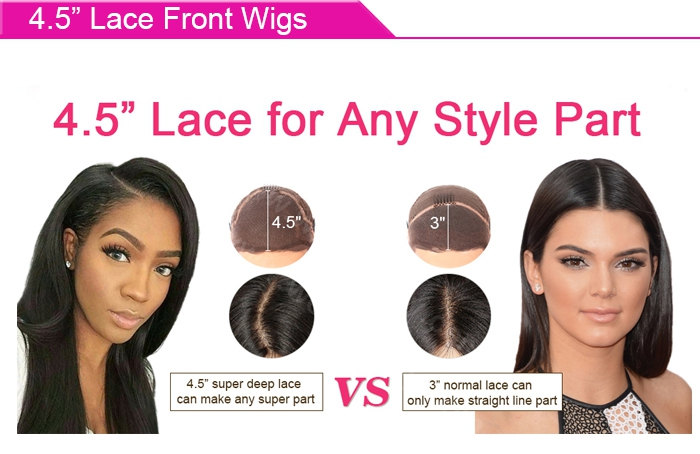 4.5 inches lace front wigs cap